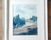 Original Landscape Acrylic painting   Abstract Fine Art Modern Contemporary Art   Blue Green Brown