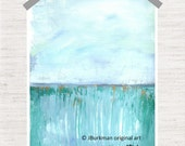 Abstract Fine Art Giclee Print from original Acrylic painting 'Forever Field'  Turquoise Teal light blue green 