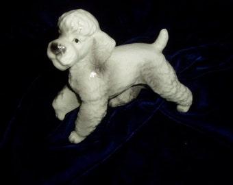 Vintage Japan  White Ceramic Poodle Dog Realistic Figurine