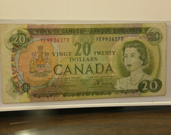 Nice Circulated Canada 1969 20 Dollars Currency Note 3