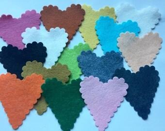 Wool Felt Scalloped Heart Die Cut 15 total - Random Colors. 3097