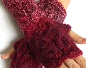 Wrist warmers cabled fingerless gloves burgundy dark red purple pink women winter accessory