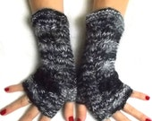 Fingerless Gloves Cabled  Hand Knit Arm Warmers in Black White Grey Warm Women Winter Accessory
