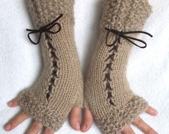 Fingerless Gloves Corset Wrist Warmers Hand Knit in Light Brown with Suede Ribbons Victorian Style