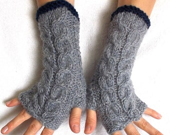 Fingerless Gloves Cabled Warm Wrist Warmers Grey Navy Fingerless Mittens Women Winter Accessory