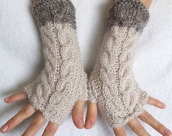 Fingerless Gloves Cabled Wrist Warmers in Beige Brown Women Winter Accessory