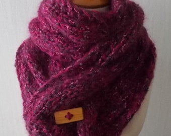 Chunky Winter Scarf Fuchsia Peony Pink Cowl Extra Thick Big Cabled Hand knitted