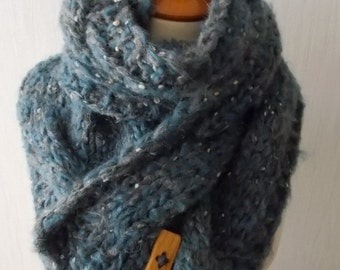 Chunky Scarf Cabled Blue Grey Cowl Hand Knitted Winter Accessory Soft with Alpaca and Mohair