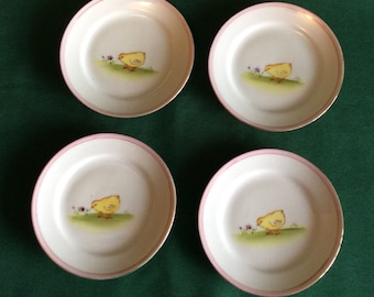 Antique Nippon Hand Painted Porcelain Chick Plates Set of 4 Rising Sun Mark Easter Table Spring Chicks