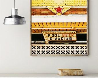 Vintage Sign Photography Print -  Pool Beer Dancing - kitchen decor midcentury modern bar neon retro geek gold red black