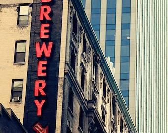 Bar Wall Art - Brewery - modern kitchen decor vintage neon sign photography red black blue aqua New York City Sign