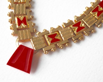 Art Deco Necklace, Jakob Bengel, German Machine Age Necklace, Brass, Red Galalith, Antique Jewelry, Bauhaus, German Avant Garde