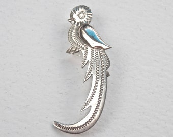 Silver Figural Brooch, Bird Pin, Guatemala Silver, Cockatoo Brooch, Bird Brooch, Vintage Inca Jewelry, Vintage Jewelry, Antique Brooch,