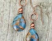 Blue Jasper and Copper Teardrop Dangle Earrings