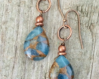 Blue Jasper and Copper Teardrop Dangle Earrings