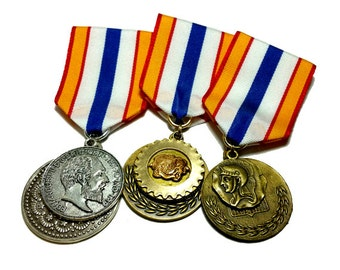 Steampunk Cosplay Medal // Custom SINGLE CHARM Medallion // Black White Ribbon