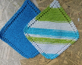 Cotton Knit Dishcloths   Set of Two, Bright Blue & Green Striped   Dishcloths   Vegan    Washcloths   Ecofriendly   Reusable   Natural