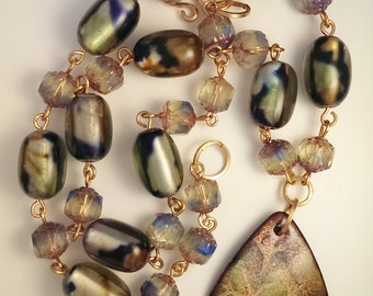 Vinyard Necklace- Enamel and Vintage Glass Beads