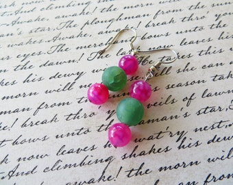 Bright Pink and Frosted Green Agate Beaded Earrings