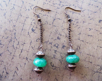 Green Agate and Antique Copper Toned Beaded Dangle Earrings