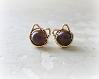 Cat Post Earrings, Brown Cat Earrings, Brown Stud Earrings, Red Tiger Eye Posts, Kitty Cat Earrings, Small Cat Earrings, Gold Filled Stud