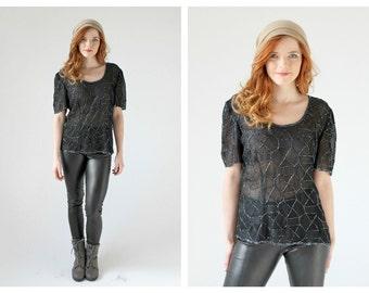 90s Black Sequin Transparent Blouse- Short Sleeve, M, T Shirt Goth Burnout