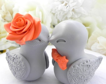 Love Birds Wedding Cake Topper, Grey and Orange, Bride and Groom Keepsake, Fully Customizable
