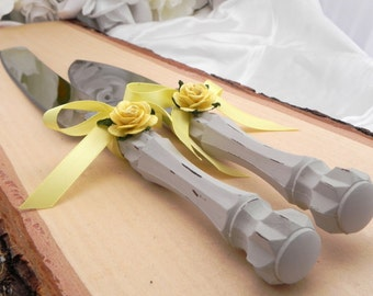 Shabby Chic Wedding Cake Server And Knife Set, Light Grey and Yellow, Bridal Shower Gift, Wedding Gift