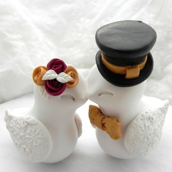 black and gold wedding cake topper birds wedding cake topper ivory gold burgundy and 11815