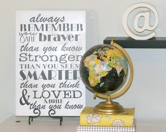 Always Remember Sign, Home Decor, Winnie The Pooh Quote, Kids Bedroom Decor, Collage Wall, You're braver than you know