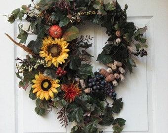 Fall Wreath - Door Wreath - Wine Country – Front Door Wreath – Year Round Wreath – Wine Cork Wreath