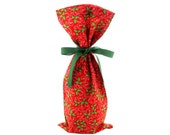 Red Fabric with Holly Christmas Wine Bag or Skinny Gift Bag