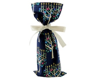Wine Bottle Bag or Small Gift Bag for Hanukkah with Beautiful Menorahs on Dark Blue Cotton with Gold Accents