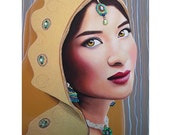 Golden Indian Bride - Sikh Beauty - By Toronto Portrait Artist Malinda Prud'homme