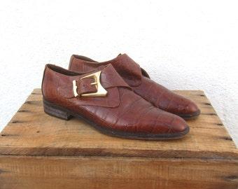 Chelsea Ankle Boots Via Spiga Cognac Embossed Crocodile Italian Leather Ladies Size 6.5