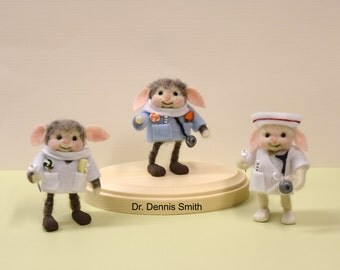 """Personalized Bunny """"Doctor"""", """"Dentist"""", or """"Nurse"""" On A Wooden Base ! Needle Felted!  Free Shipping In The U.S.A. Too!"""