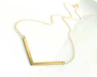 Gold V Necklace - 14K gold fill chain with brass vee / arrow shape pendant - delicate minimalist geometric simple little everyday style
