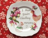 I Think You're Clucking Awesome Vintage Illustrated Valentines Day Plate