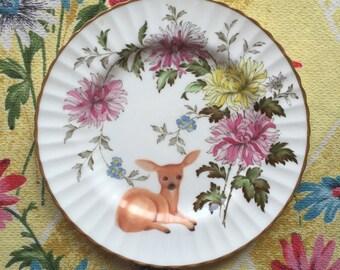 Vintage Deer with Peonies Vintage Illustrated Plate