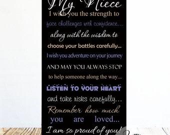 My Niece Wood Sign, Great Graduation or Birthday Gift