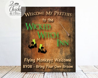 Welcome My Pretties To The Wicked Witch Inn (Primitive Orange) Wood Sign, Funny Halloween Sign, Wicked Witch Sign
