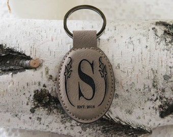 Leather Personalized  Key Holder, Custom Key Ring, Engraved Custom Key Chain, Initial Key Chain