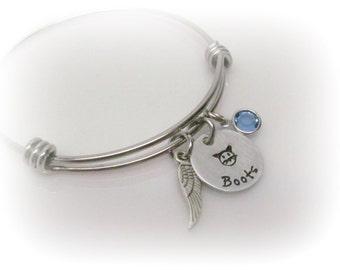 Cat Memorial Bracelet Custom Pet Name Cat Jewelry Pet Remembrance Pet Memorial Pet Loss Cat Remembrance Hand Stamped Bangle Bracelet