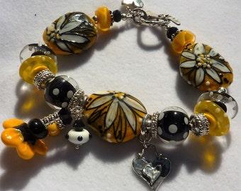 Lampwork Bracelet and Earrings SOPHISTICATION