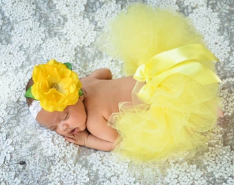 Baby Tutu and Headband, Yellow Tutu for Newborn Photo Prop, First Birthday Outfit, Girls Tulle Skirt, Newborn Tutu, Baby Girls Tutu Skirt