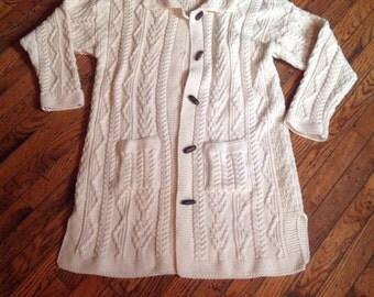 Vintage Arancrafts Ireland Long Sweater 100% Merino Wool XL