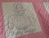 Vintage Pink Baby Quilt, Hand Stitched Quilt, Vintage Baby Blanket, Vintage Nursery