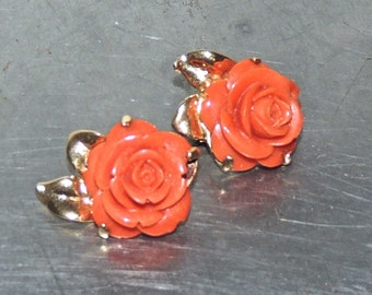 vintage coral earrings - 1950s carved rose coral clip on earrings