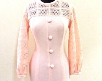 vintage mod knit dress - 1960s baby pink button-front dress