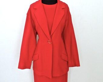 SALE vintage mod red dress & jacket set - 1960s Richie Freeman for Teri John red sheath dress and blazer set